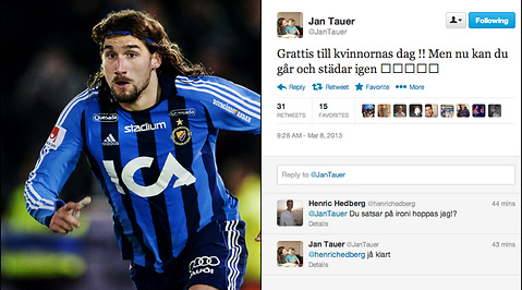 Twitter, Internationella kvinnodagen, Jan Tauer, Skämt