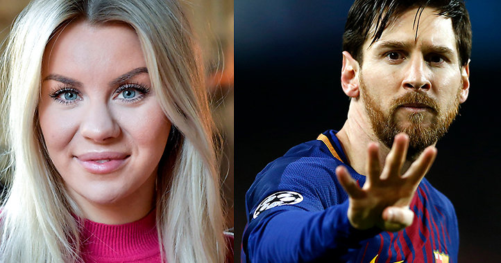 Therese Lindgren och Lionel Messi.