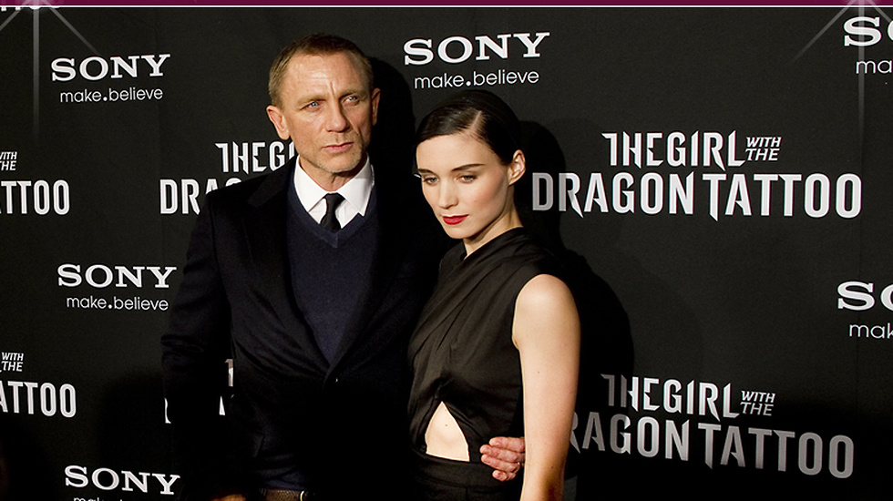 "Daniel Craig och Rooney Mara på galapremiären av filmen ""The Girl with the Dragon Tattoo""."