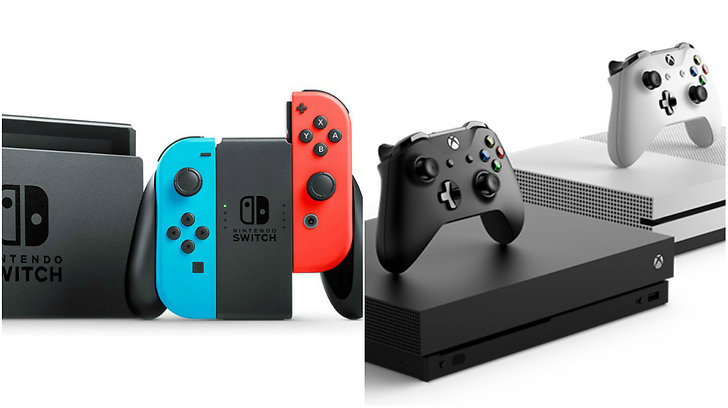 Nintendo Switch och Microsoft Xbox One X