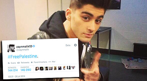 Zayn Malik, Twitter, Palestina, One direction