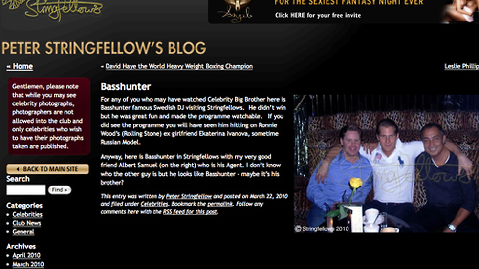 Basshunter på Stringfellow Lapdancing Club i London.