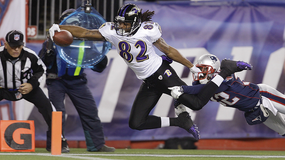 Baltimore Raves förlorade förvisso AFC-finalen mot New England Patriots, men här flyger Torrey Smith in i end zone på ett stålmannen-liknande vis.