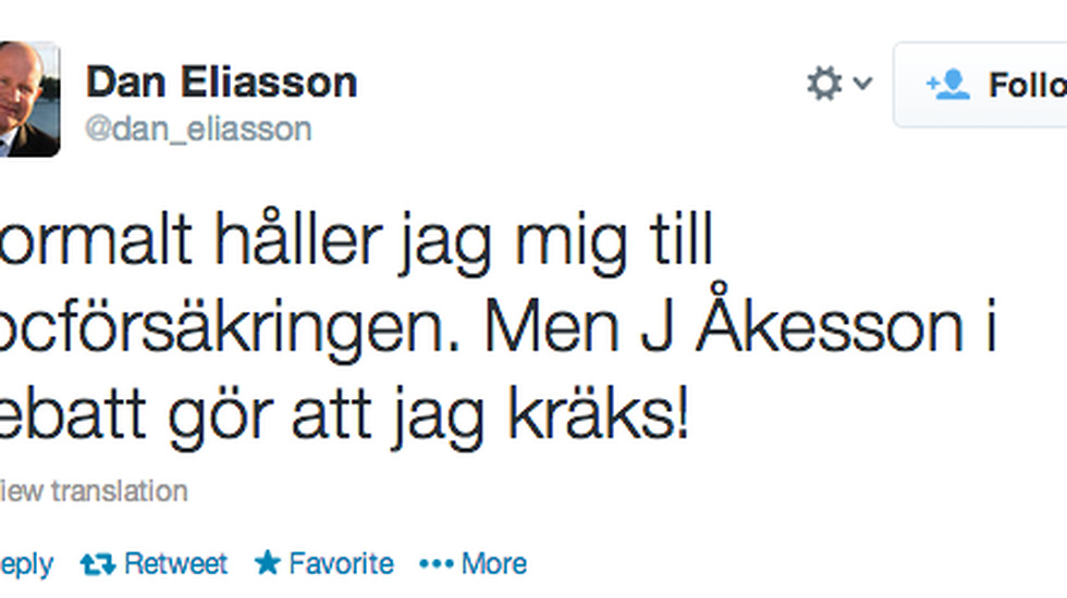 "Eliassons tweet under SVT:s ""Debatt""."