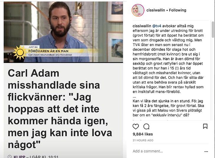 Cissi Wallins kritik mot TV4