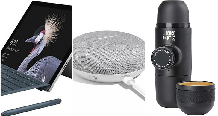 Laptop, Google Home Mini, Minipresso